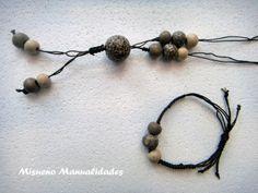 Conjunto de collar y pulsera de Fimo print de leopardo montado con macramé en hilo marrón.  www.misuenyo.com / www.misuenyo.es