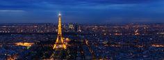 Capa para Facebook com foto panorâmica noturna de Paris mostrando a...