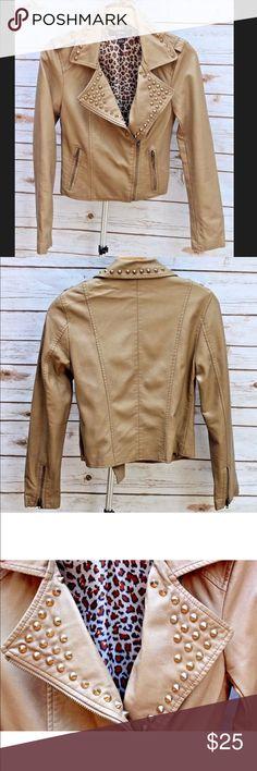 Beige leather studded jacket Forever 21 beige spiked jacket. Worn once. Very stylish Forever 21 Jackets & Coats