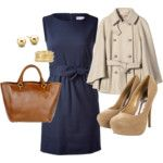 Navy dress with trench coat