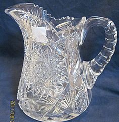 """BRILLIANT PERIOD  7-1/2"""" CUT GLASS WATER PITCHER"""