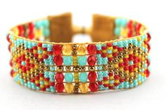 Beaded+Loomed+Bracelet+with+Red+Turquoise++and+by+LiTelleJewelry,+$85.00