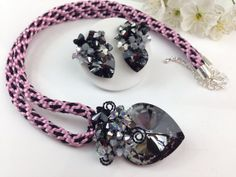 Kumihimo crystal jewellery black crystal pendant by PastelGems,