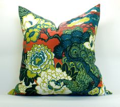 Schumacher Shanghai Peacock pillow cover in Cerise Modern Pillow Covers, Decorative Pillow Covers, Teal Blue, Red And Pink, Teal Orange, Yellow, Down Pillows, Throw Pillows, Chaing Mai