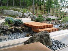 nice lil' modern bridge for an asian inspired garden