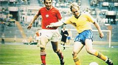 Sweden 0 Bulgaria 0 in 1974 in Dusseldorf. Roland Sandberg sends a cross over in Group 3 at the World Cup Finals.