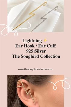 Our Lightning Ear Hook / Ear Cuff is a fashion-forward, trend setting earring that features simple, clean lines with micro-pave setting of tiny cubic zirconia. Chic and modern, minimalist in design yet so timeless and classic in their simplicity, Lightning Ear Hook / Cuff will be the most unique and innovative piece of jewelry in your wardrobe. Cool Presents, Modern Minimalist, Clean Lines, Statement Earrings, Lightning, Fashion Forward, Bag Accessories, 925 Silver, Women Jewelry