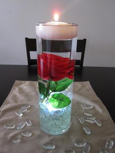 Valentine's Day Candle Centerpieces — flolating red rose candle holder centerpiece