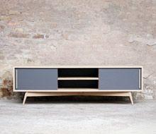 MEUBLE TV 180/35/40, esprit vintage, Création Gentlemen Designers, gris – 1350 €