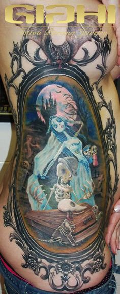 corpse bride tattoo. Not one for cartoon tattoos, but the work itself is beautiful :-)