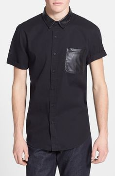 Topman short sleeve shirt with faux leather trim