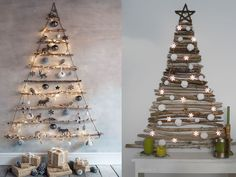 árbol de navidad original natural Navidad Natural, White Christmas, Christmas Tree, Navidad Diy, Dyi, Diy Furniture, Lush, Holiday Decor, Painting