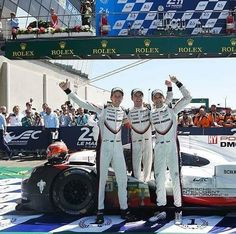 2017 24 Hours of Le Mans : Congratulations Timo Bernhard (Germany) Brendon Hartley and Earl Bamber (New Zealand) Team : Porsche LMP Team Car : Porsche 919 Hybrid 2.0 L V4 (ph: © LAT)