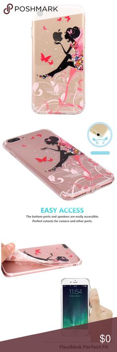 Butterfly Flower Fairy iPhone 7/8 Case Material:  TPU Silicone Color: Clear  Type:  Fitted Case/Skin Compatible Model: Apple iPhone 7 (2016) / iPhone 8 (2017) Case ONLY - Screen Protector not included. Accessories Phone Cases