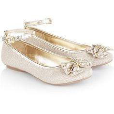 Monsoon Studded Bow Ankle Strap Ballerina Shoes