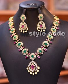 Indian Jewellery Design, Cz Jewellery, Indian Jewelry, Jewelry Design, September 19, Jewelry Collection, Beaded Necklace, Style, Blog