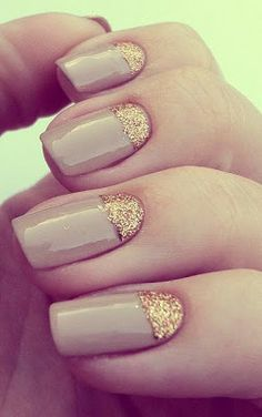 golden glitter and nude polish