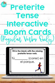Are you looking for an interactive, fun way for your students to study regular verbs in the preterite tense while learning remotely? If so, these self-checking, self-grading Boom Cards are just what you need! Students will be engaged and get a great review as they work their way through the 50 cards in the deck! Cards can be played on a computer, tablet, phone, or other mobile device and can be integrated easily with Google Classroom. #distancelearning #spanish #boomcards #preterite
