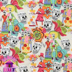 """140101138- Alexander Henry """"Los Novios"""" Bride and Groom Dia De Los Muertos Day of the Dead Sugar Skulls Cotton Fabric BTY. $10.98, via Etsy."""