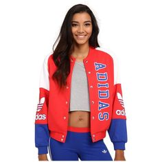 adidas Originals La Varsity Track Top Women's Jacket ($85) ❤ liked on Polyvore featuring outerwear, jackets, bomber jacket, long sleeve jacket, red bomber jacket, logo jackets and adidas originals jacket