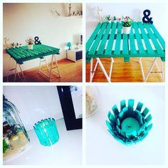 Palet reciclado, lijado y pintado para usarlo como mesa de salón, apoyado con 2 borriquetes también lijados y pintados. Por otro lado portavelas hecho con pinzas de la ropa y una lata de atún. INSTAGRAM : taniapetazeta