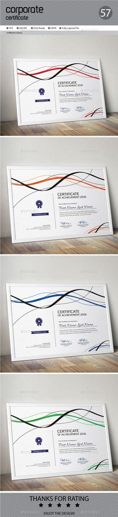 82 best This is Certificate images on Pinterest in 2018   Award     Certificate by ConceptFactory Certificate is especially for Corporate or  Professional use  4 different color and easy to modify