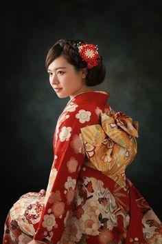 Japanese kimono girl. 成人撮影 着物 20歳