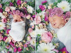 Baby girl newborn shoot- love the flowers