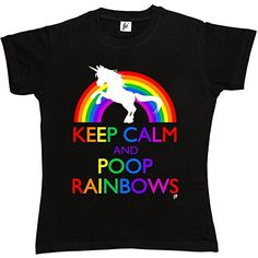 Keep Calm & Poop Rainbows Funny Unicorn Womens Ladies T-Shirt (Size - XL (38-40 Inch Chest), Colour - Black) Brithday Present Christmas Gift