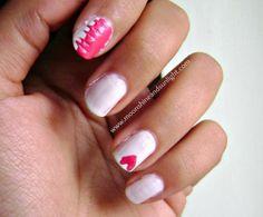 "Moonshine and Sunlight | Indian DIY,Lifestyle,Craft and Nail art Blog: ""Patched up love"" nail art #nailart #heart #nails #pinkandwhitenails #pinknails"