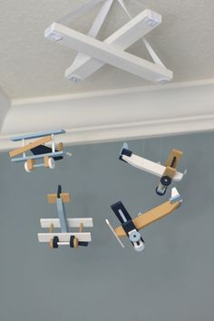 Airplane Baby Mobile Nursery Decor - Navy White Tan Baby Blue