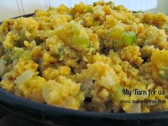 Cornbread Stuffing is made from homemade corn bread and fresh ingredients. Seasoned with sage, it is perfect for your Thanksgiving Table