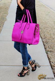@dd's DISCOUNTS Fuchsia Handbag and @dots Tribal Heels #beautybrawler