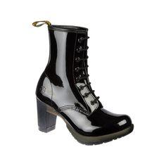 Dr Martens Darcie Boot BLACK PATENT LAMPER - Doc Martens Boots and... ($95) via Polyvore