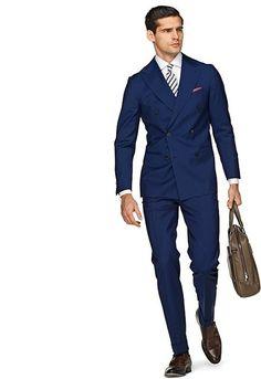 Suit Blue Plain Soho Double Breasted Suit