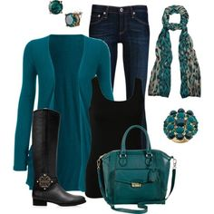 Long Sleeve Jersey Cardigan w Pockets Teal  I don't like the jewelry or scarf but everything else is good love the teal