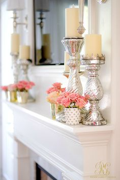 Tips to Warm up your Home after Christmas fresh pink flowers on a white mantle w. Tips to Warm up your Home after Christmas fresh pink flowers on a white mantle with mercury glass pillar candles are just the thing! Cheap Home Decor, Diy Home Decor, White Mantle, After Christmas, Christmas Christmas, Christmas Candles, Christmas Design, Spring Home Decor, Summer Mantle Decor