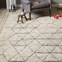 I'm kind of into this rug for your office, can't beat the price either. | Carla Peters Geo Line Wool Shag Rug #westelm