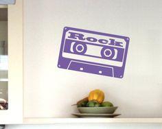 'Rock' Wandtattoo Cassette. Wandtattoo Cassette 'Rock' ab Größe 20cm Audio Tape