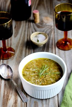 French Onion and Green Lentil Soup.