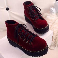 Platform Sneakers | shoes platform shoes platform sneakers sneakers velvet red creepers ...
