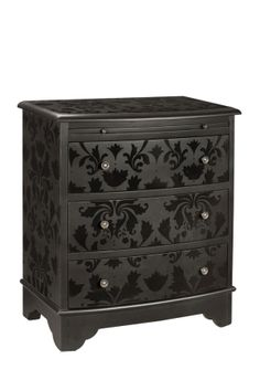 Like the idea of stenciling with high gloss paint. Dresser painted in black matte paint stenciled with black gloss paint. Furniture Projects, Furniture Makeover, Home Projects, Diy Furniture, Black Furniture, Furniture Refinishing, House Furniture, Repurposed Furniture, Refurbished Furniture