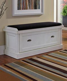 Look what I found on #zulily! Distressed White Nantucket Upholstered Bench #zulilyfinds