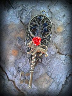 Rose Lion Fantasy Key by ArtbyStarlaMoore on Etsy, $15.00