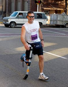 Think you can't finish a 5k.  Dave finished the 3.1 miles race on one foot with the help of the iWALKfree Hands Free Crutch.  No one cared about his time, although he did win the single foot division.  He showed the world he would not be Condemned to Crutches as he recovered.