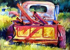Watercolor painting--old abandoned Ford truck found in Texas--on 10 x 14 Arches watercolor paper--BORN TO HAUL by Mary Shepard. www.maryshepard.com
