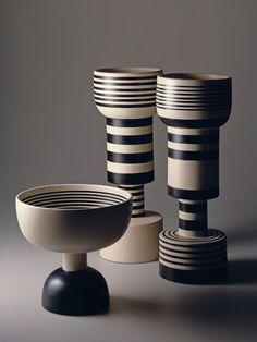 scandinaviancollectors: ETTORE SOTTSASS, Three ceramic vases...
