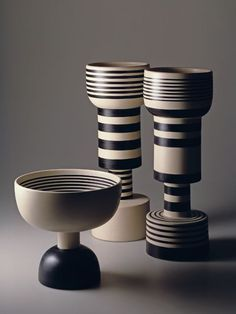 ETTORE SOTTSASS, Three ceramic vases from the Hollywood Collection (1958). Material glazed stoneware. Manufactured by Il Sestante, Italy (re-edition by Bitossi). Photography by Aldo Ballo & Marirosa...