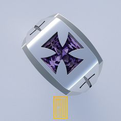 Knights Templar Ring Unique Design for Men 925K Sterling Silver with Amethyst Gemstone 2015 Edition by MuDesignJewelry on Etsy