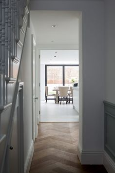 Hughes Developments completed a top to bottom redesign of this semi-detached Victorian house in South West London. The project included a basement dig to provide over square feet of extra living space, plus a rear extension and loft conversion. House Extension Plans, Rear Extension, 1930s House Extension, Kitchen Extension Semi Detached, 1930s Kitchen Extension, Extension Ideas, Victorian Hallway, 1930s Hallway, Flur Design